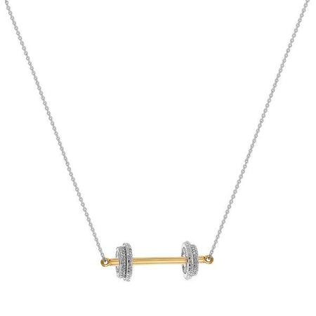 Joan Hornig Jewelry Fit to Succeed Dumbbell Necklace -  23k gold