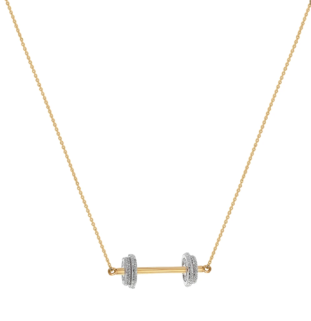 Joan Hornig Jewelry Fit to Succeed-Dumbbell Necklace - 23k Gold