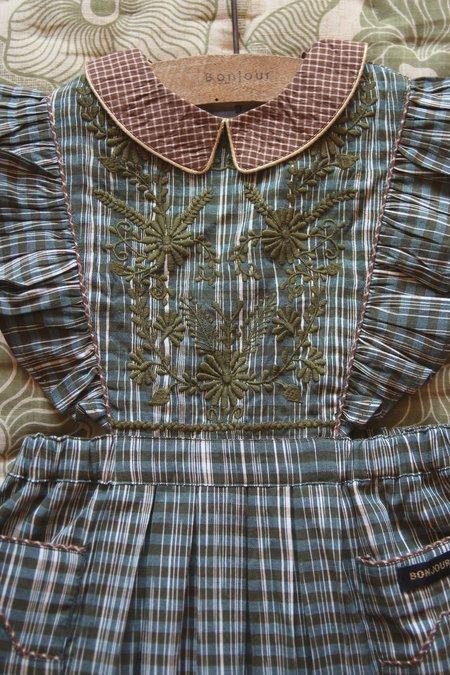 KIDS Bonjour Apron Pinafore Dress - Ikat Check