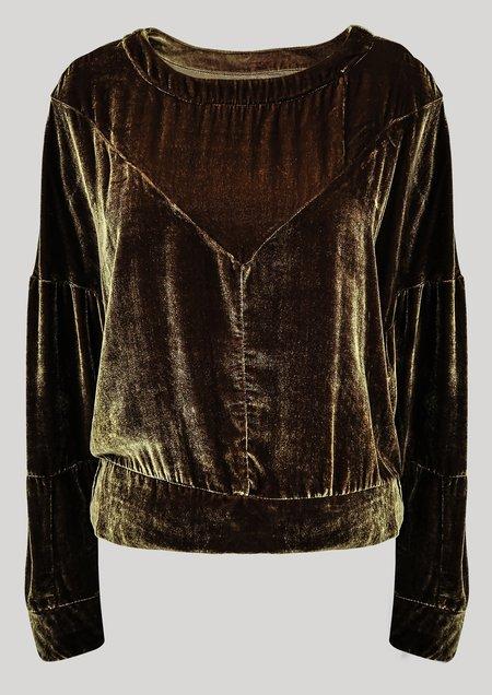 Berenik Patchwork Velvet Sweater - Gold