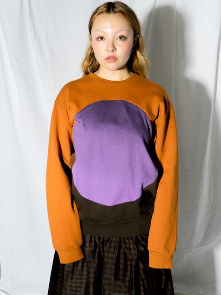 Unisex Correll Correll Sun and Moon Crewneck Sweatshirt - Tumeric/Purple