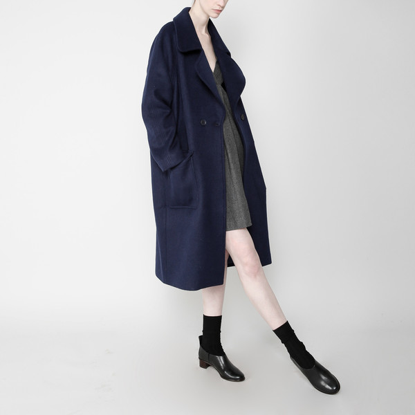 7115 by Szeki Long Wool Coat - Navy FW16