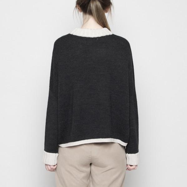 7115 by Szeki Mock-Neck Merino Sweater - Charcoal + Beige FW16