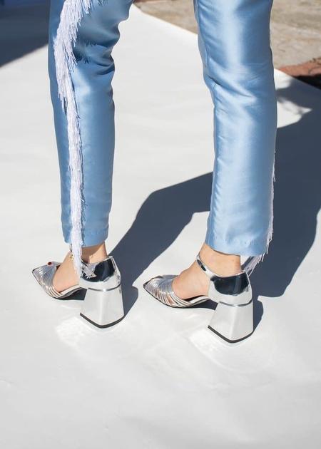 Suzanne Rae High Heel 70s Sandal - Silver