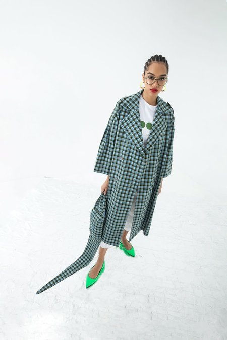 OOF Wear PLAID TRENCH - SKY