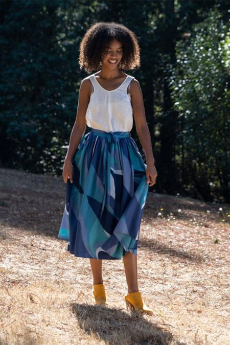 Maison Djouf Nanette Wrap Skirt Retro Wave - Turquoise