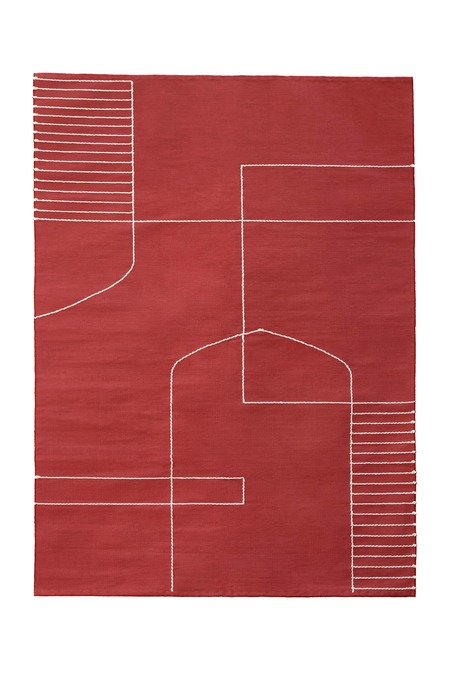 Kilim Solid Temple Rug - Red/White