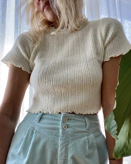 TACH CLOTHING Alpaca Pegasus Short Sleeve Sweater - Cream