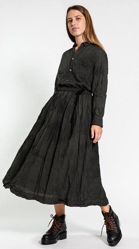 Pas de Calais Madras Check Garment Dyed Skirt - Khaki