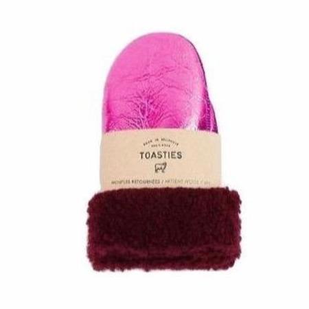 Kids Toasties Shearling Mittens - Metallic Pink