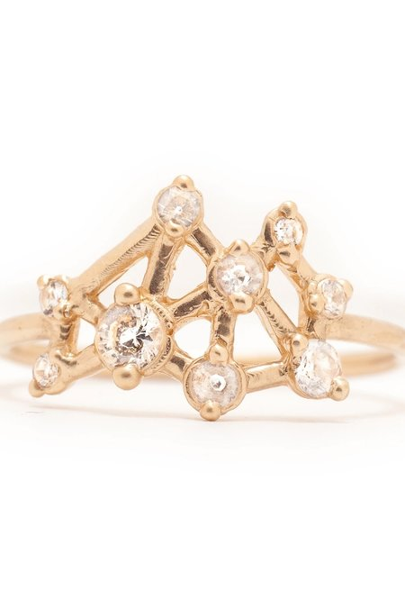 Valley Rose 14K Gold Seven Sisters Ring - White Sapphire