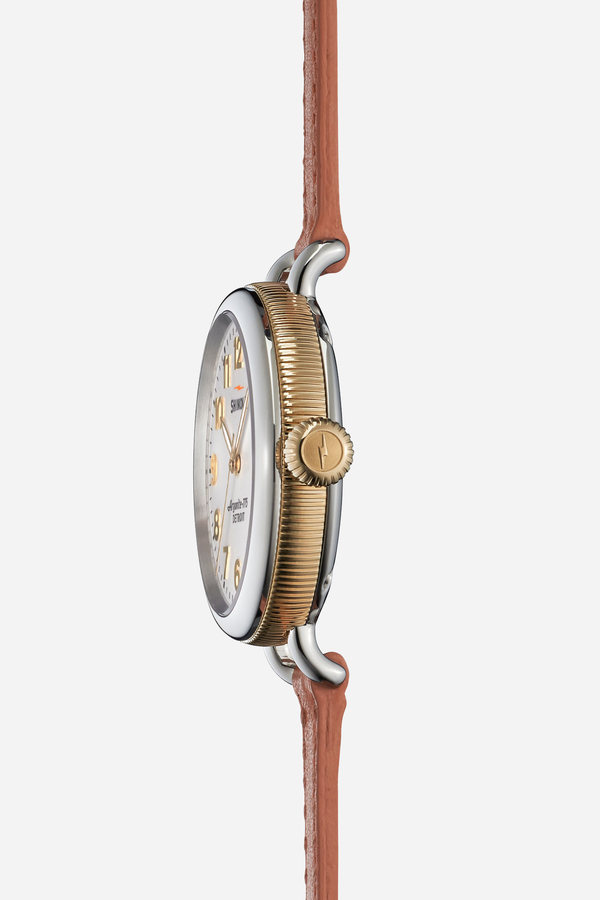 Shinola The Birdy 34mm in white & orchid