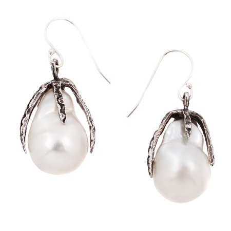 Lauren Wolf Stingray Claw Drop with White South Sea Pearls Earrings - Oxidized Silver