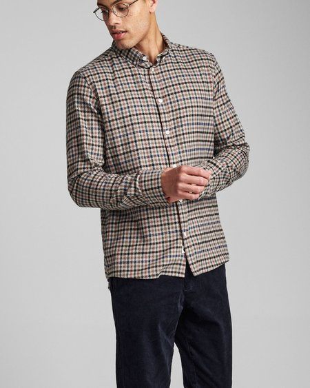 Anerkjendt Akkonrad Check Brushed Shirt - Dark Grey Melange