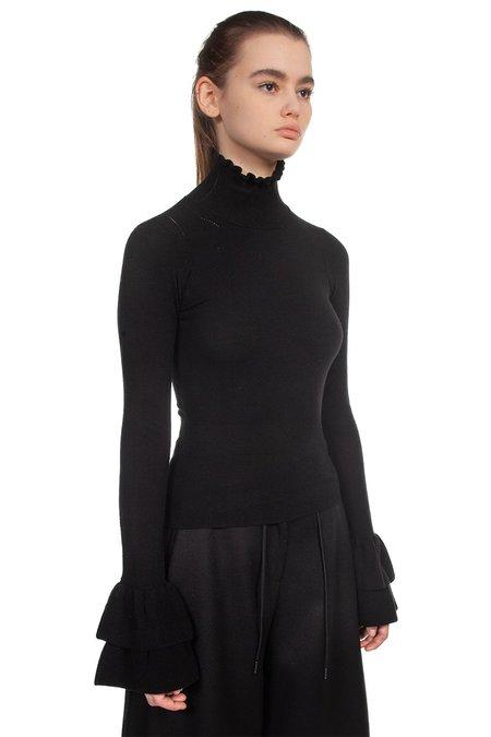 Isabel Benenato Ruffle Sleeves Top - Black