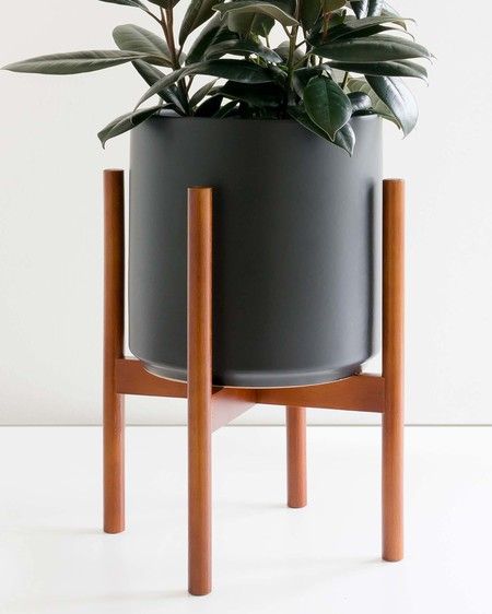 "Peach & Pebble 10"" Planter with Wood Stand - Black"