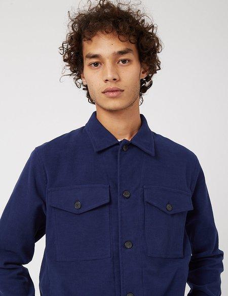 Bhode Cotton Moleskin Overshirt - Medieval Navy
