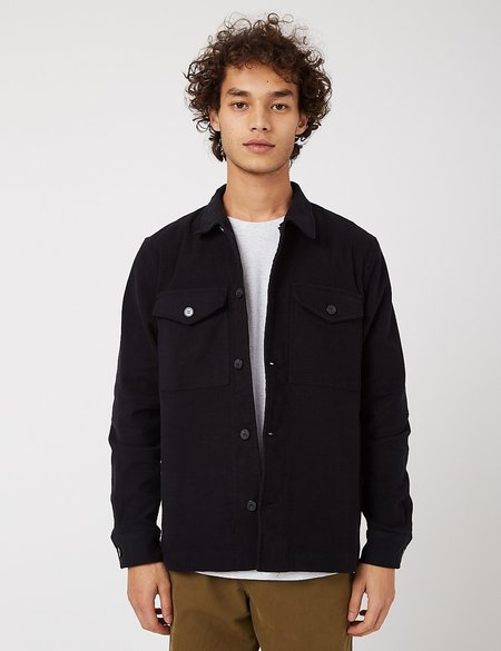 Bhode Cotton Moleskin Overshirt - Black