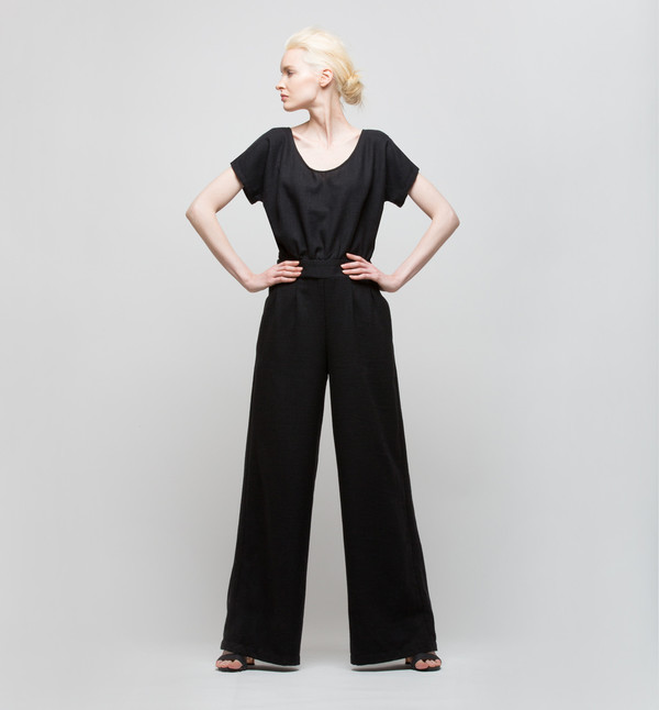 H. Fredriksson Tina Jumpsuit Black linen/silk/wool
