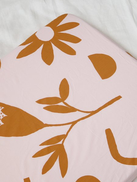 KIDS Mosey Me Floral Dreams Fitted Cot Sheet - Mustard