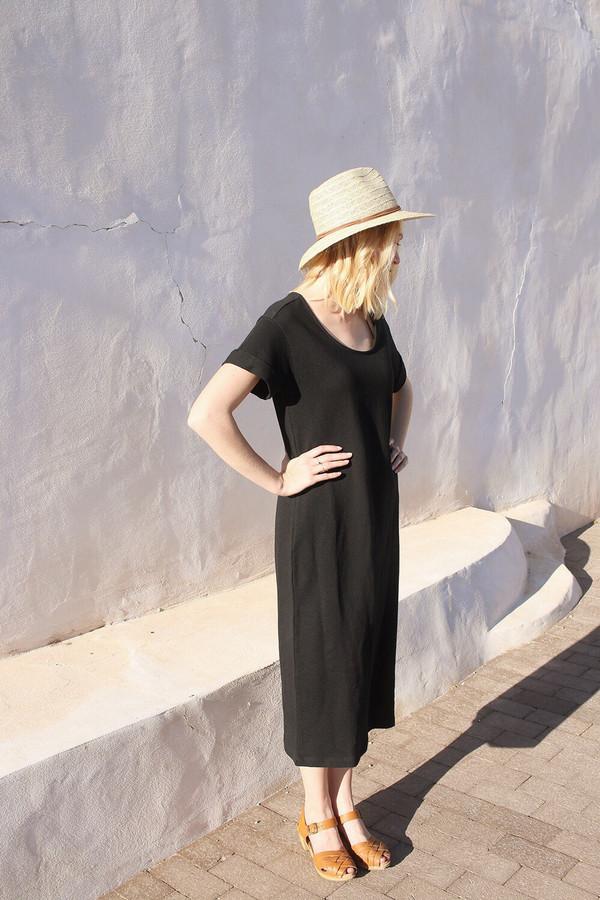 Ali Golden Roll Sleeve T-Shirt Dress in Black