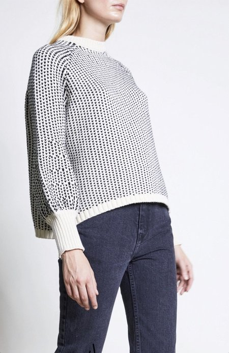 Apiece Apart Crew Sequoia Sweater - Cream/Charcoal