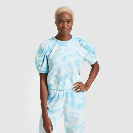 Clare V. Puff Sleeve Sweatshirt - Light Blue Tie Dye