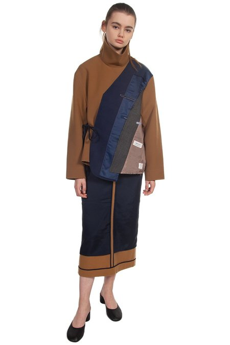 Recode Inside Out Colour Block Skirt - Navy/Brown