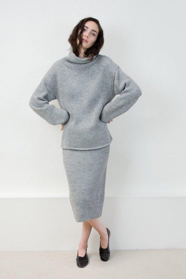 Micaela Greg Knit Tube Skirt - Melange Grey