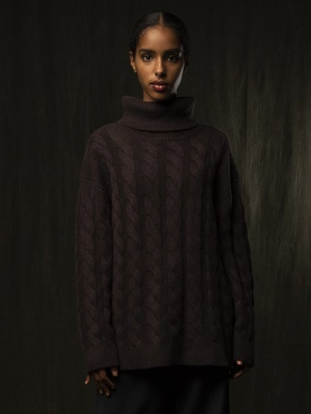 Pure Cashmere NYC Classic Cable Knit Tunic - Castle Brown