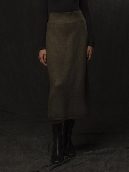 Pure Cashmere NYC Midi Skirt - Hunter Heather