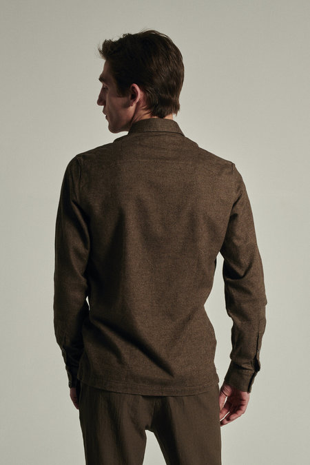 delikatessen Strong Doubled Brushed Italian Flannel Shirt - Brown
