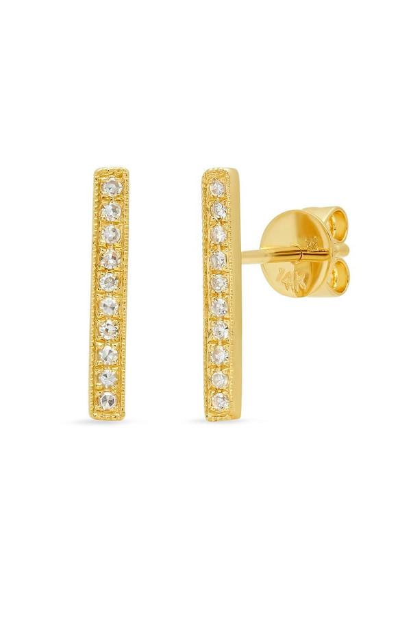 Sachi Jewelry Long Bar Studs - 14K Yellow Gold