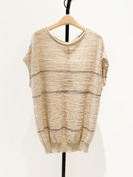 Sarah Pacini linen blend crochet blouse, metallic detail - flax