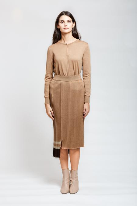 MARIO Pleated Skirt - Brown