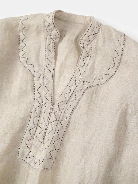 Erica Tanov Aarika Linen Top - Hand Embroidered Natural