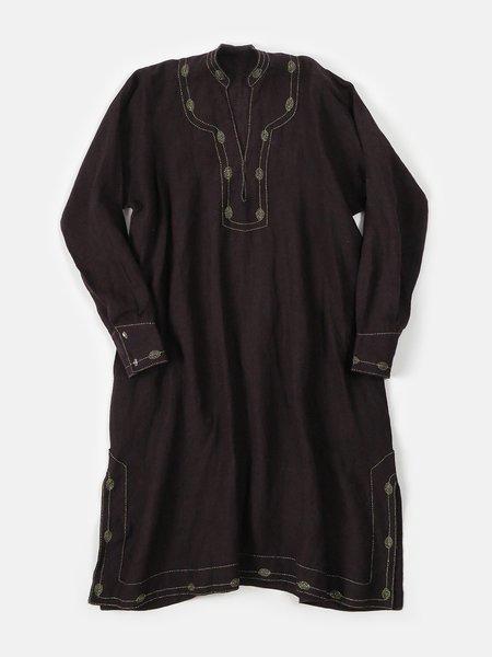 rekha caftan in hand embroidered plum linen