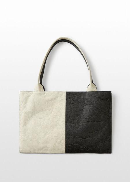 Mabel and Moss Hozen Colorblock Tote Bag - Charcoal/Natural