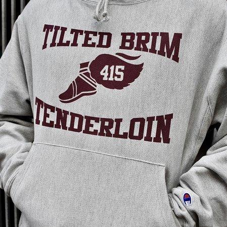 Tilted Brim Champion Reverse Weave Runners Hoody - Gray