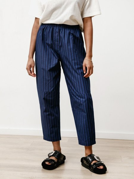 Priory Striped Poplin  Tile Pant - Indigo/Blue