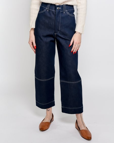 Micaela Greg Seamed Jeans - Rigid Indigo Denim