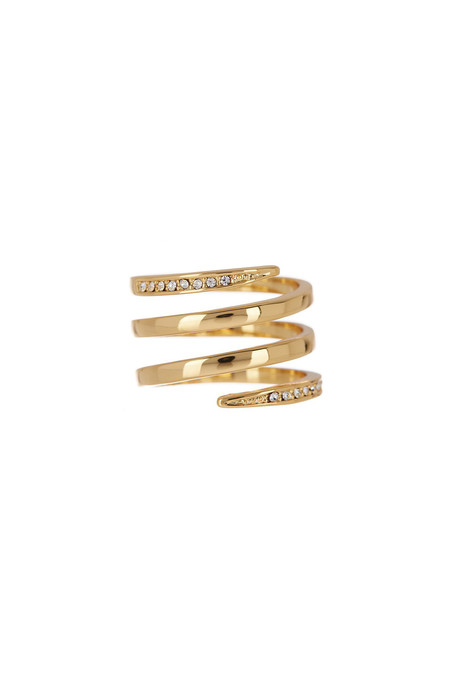 Luv Aj Gold Pave Spike Coil Ring