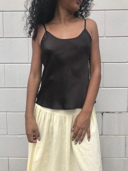 Vintage Silk Singlet - Dark Brown