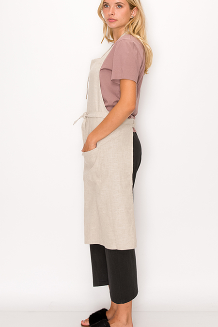 Unisex 139 project Washed Linen Apron & Dish Cloth Set - Taupe