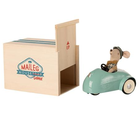 Kids Maileg Mouse Car with Garage - Blue