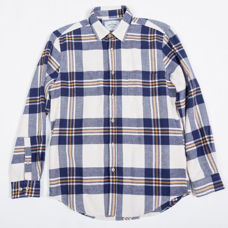 PORTUGUESE FLANNEL Woodstock Shirt - Blue/white/yellow
