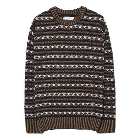 Universal Works Batton Stripe Crew sweater - Navy Jacquard