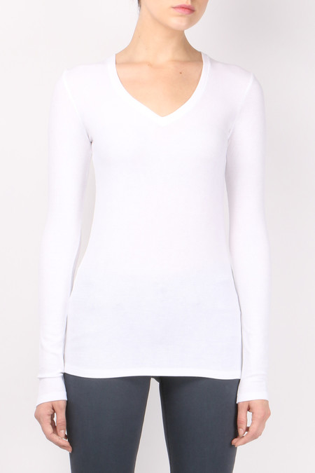 ATM Long Sleeve V Neck Rib Shirt White