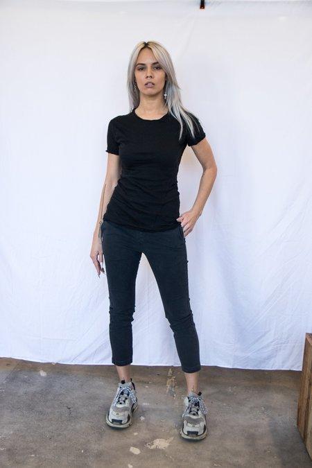 MJ Watson Cotton Cashmere Twisted Seam T-Shirt - Black