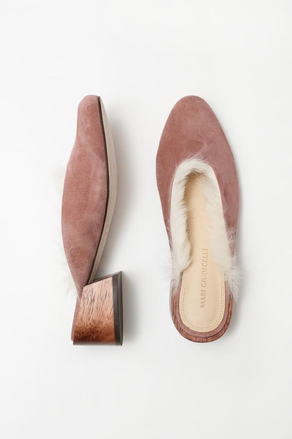 Mari Giudicelli Leblon Mule - rose suede with fur lining